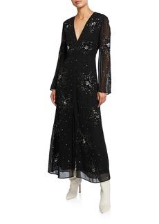 RIXO Sonja Embellished Star V-Neck Dress