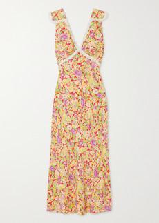 RIXO Storm Crochet-trimmed Floral-print Crepe Midi Dress