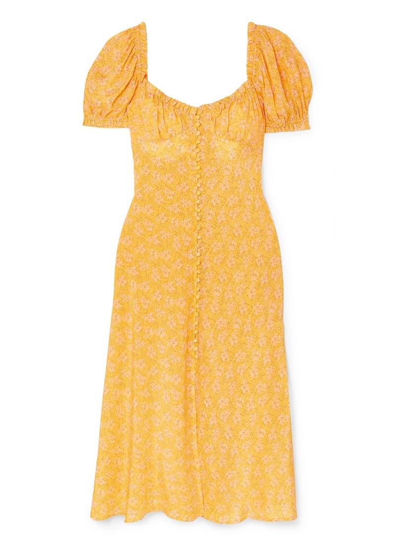 RIXO Tammy Ruffled Floral-print Silk-georgette Dress