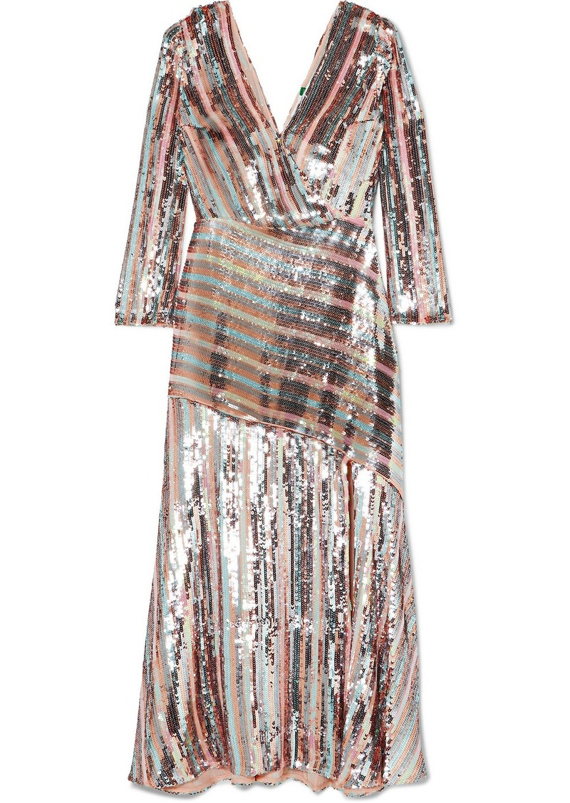 RIXO Tyra Striped Sequined Crepe Midi Dress