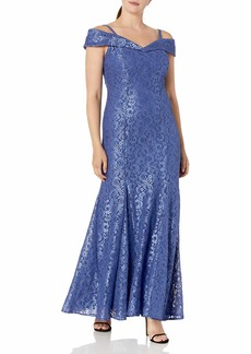 R&M Richards Women's 1 PCE Missy Laced Long Gown Periwinkle