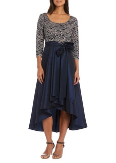 R&M Richards Women's 1 PCE Off The Shoulder lace and Tafetta Dress Navy/Taupe