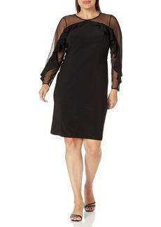 R&M Richards Women's 1 PCE Plus Size Sheer Sleeve Dress Black 22W