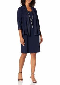 R&M Richards Women's 2 PCE Missy Solid Jacket Dress Navy