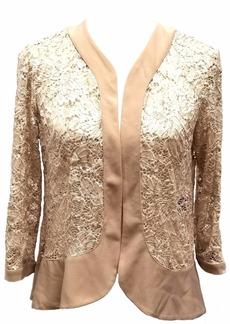R&M Richards Women's 2 Piece lace Jacket Dress Champagne