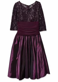 R&M Richards Women's Laced Bodice and Tafetta Skirt Formal Dress Plum