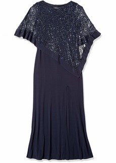 R&M Richards Women's Laced Poncho Over a Long Sheath Dress Navy