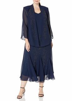R&M Richards Women's Plus Size Beaded Chiffon Jacket Dress  16W