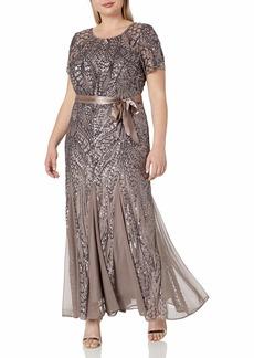 R&M Richards Women's Plus Size Long Beaded Gown  18W