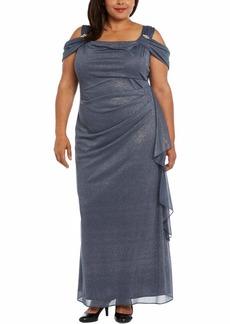 R&M Richards Women's Plus Size Missy 1 PCE Cowl Neck Long Dress Charcoal 16W