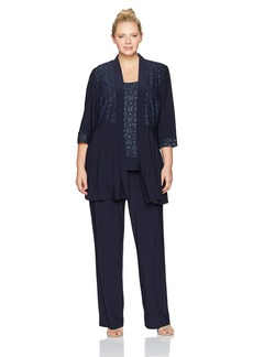 R&M Richards Women's Plus Size Two Piece Glitter and Lace Pant Set Large Navy 14W
