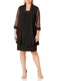 R&M Richards Women's Size 2 Piece Mesh Panel Bead Neck Jack Et Dress Plus
