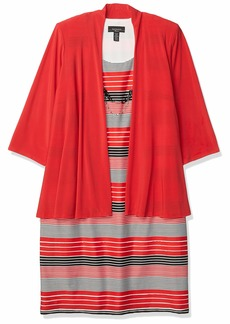 R&M Richards Women's Size Two PCE Plus Stretch Jacket and Printed Dress Coral 20W