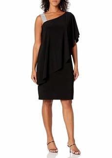 R&M Richards Women's The one Shoulder Short Solid Cocktail Dress Black