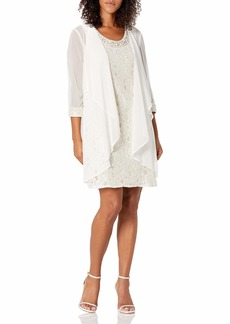 R&M Richards Women's Two Piece Fly Away Jacket Over Beaded Neck Laced Dress Ivory/TAUP
