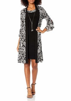 R&M Richards Women's Two Piece Printed Duster Hacket and Solid Stretch Dress Black/Ivory