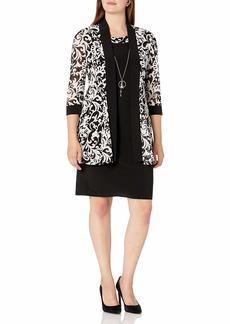 R&M Richards Women's Two Piece Puff Print Jacket Dress Black/Whit