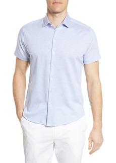 Robert Barakett Lanville Short Sleeve Knit Button-Up Shirt