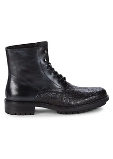Robert Graham Abstraction Embossed Leather Combat Boots