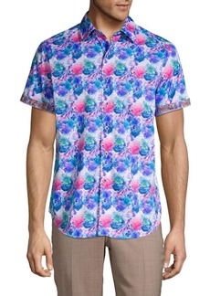 Robert Graham Bashan Watercolor Print Sport Shirt