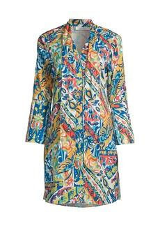 Robert Graham Brenna Printed Tie-Neck Dress