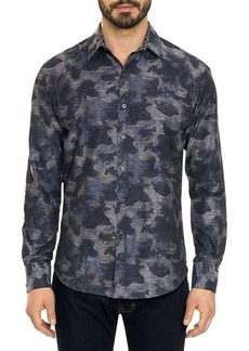 Robert Graham Camo-Jacquard Cotton Sport Shirt