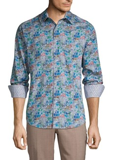 Robert Graham Clanton Classic-Fit Printed Cotton Sport Shirt