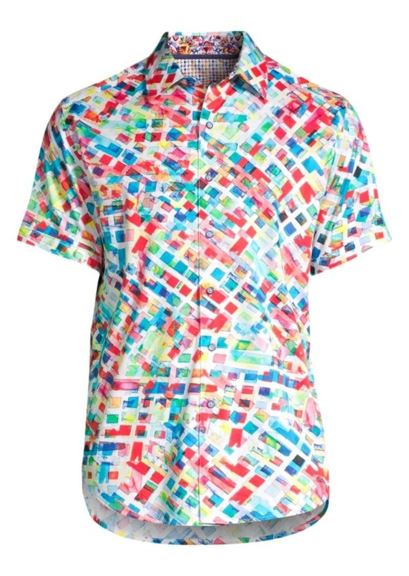 Robert Graham Classic-Fit Buster Rainbow Geometric Print Short-Sleeve Shirt