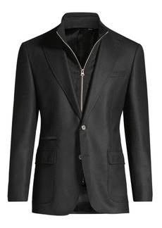 Robert Graham Classic-Fit DownHill Woven Wool & Cashmere Single-Breasted Blazer