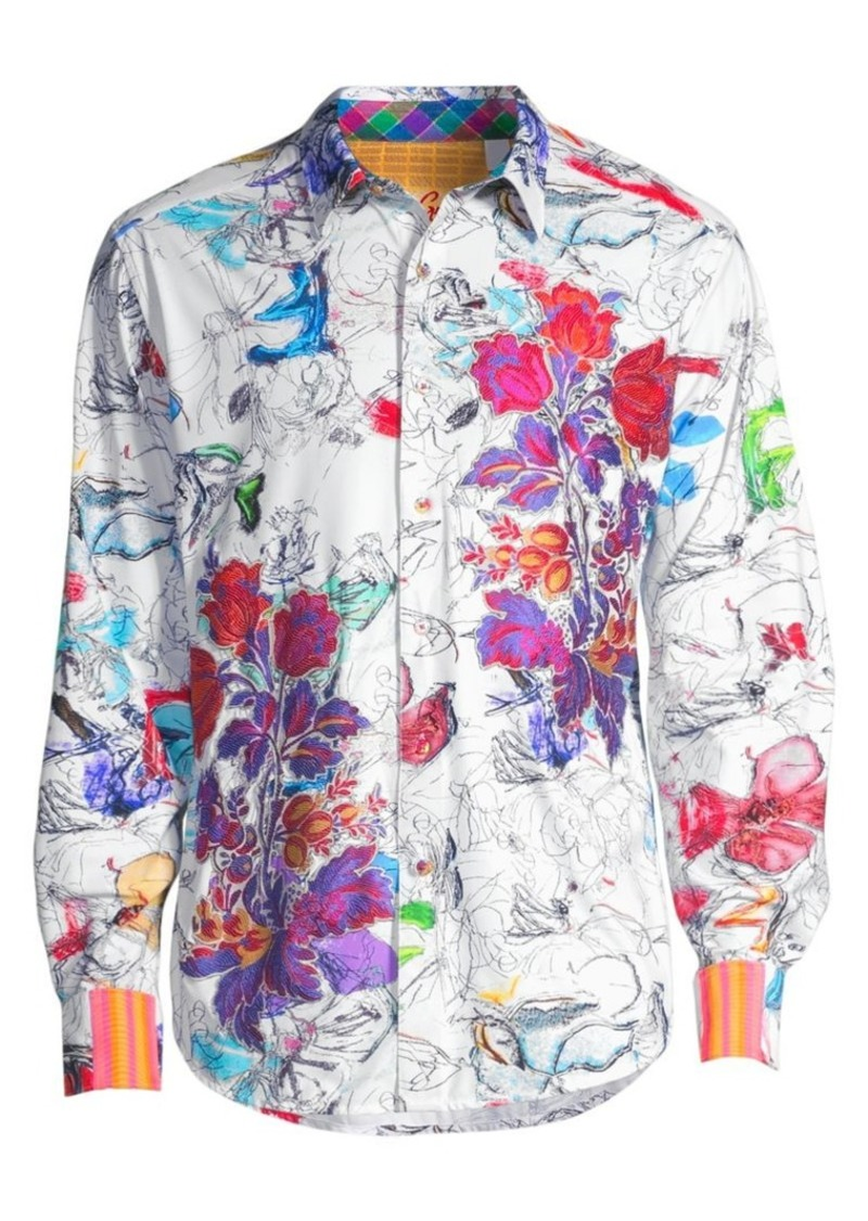 Robert Graham Classic-Fit Petal-To-The-Metal Print Shirt