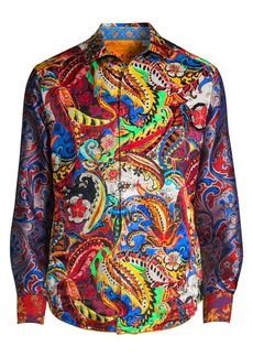 Robert Graham Classic-Fit Printed Linen Silk Shirt