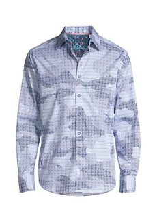 Robert Graham Courageous Camouflage & Geometric Print Shirt