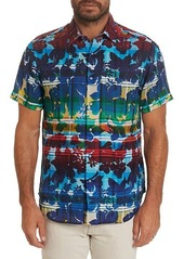 Robert Graham Cul De Sack Classic-Fit Short-Sleeve Floral Plaid Sport Shirt