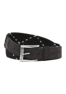 Robert Graham Gatewood Leather Elastic Woven Belt