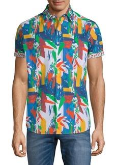 Robert Graham Lakelane Short-Sleeve Cotton Button-Down Shirt