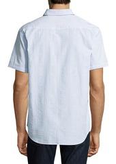 Robert Graham Lorence Seersucker Short-Sleeve Shirt  Light Blue