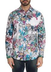 Robert Graham Men's Broken Blossom Floral-Print Sport Shirt w/ Contrast Detail