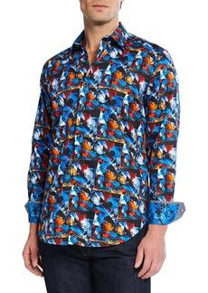 Robert Graham Men's Cabreo Abstract Print Cotton Sport Shirt
