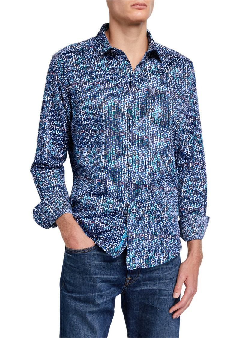 Robert Graham Men's Cargill Patterned Cotton Sport Shirt
