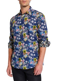 Robert Graham Men's Classic-Fit Alduc Floral Skull Graphic Long-Sleeve Sport Shirt