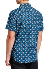 Robert Graham Men's Classic-Fit Bankhead Cube-Print Short-Sleeve Sport Shirt