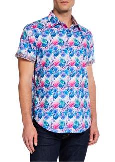Robert Graham Men's Classic-Fit Bashan Watercolor Short-Sleeve Cotton Sport Shirt