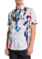 Robert Graham Men's Classic-Fit Brimwood Printed Short-Sleeve Sport Shirt