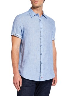 Robert Graham Men's Classic-Fit Gills Chambray Short-Sleeve Sport Shirt