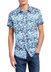 Robert Graham Men's Classic-Fit Greenpine Short-Sleeve Sport Shirt