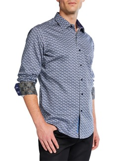 Robert Graham Men's Classic-Fit Mizzen Geometric Long-Sleeve Cotton Sport Shirt