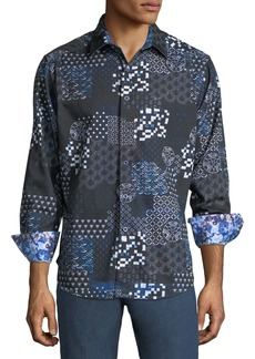 Robert Graham Men's Classic-Fit Yardman Geometric-Patchwork Sport Shirt