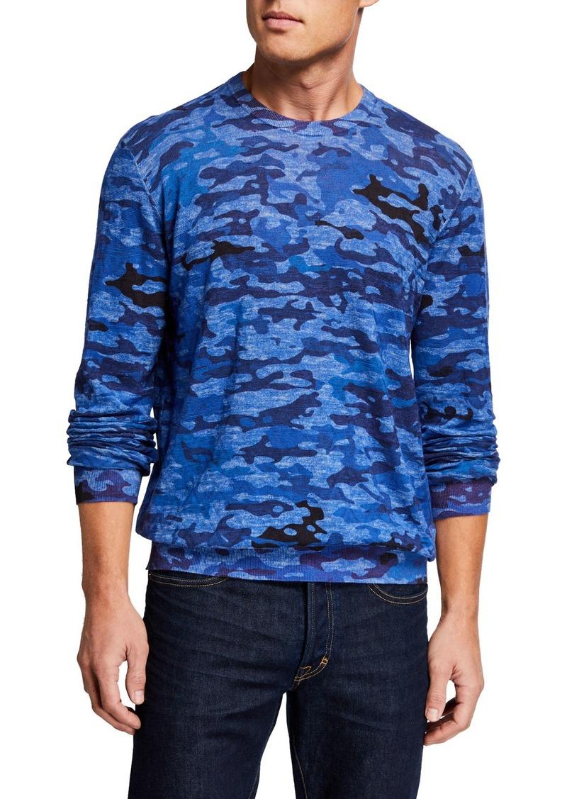 Robert Graham Men's Commander Linen-Cotton Camo T-Shirt