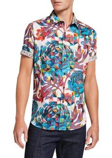 Robert Graham Men's Delfern Geo Floral Short-Sleeve Cotton Shirt