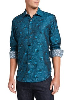 Robert Graham Men's Edmar Abstract Long-Sleeve Cotton Sport Shirt